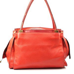 Auth Chloe Red Leather Tote Bag #4243C11
